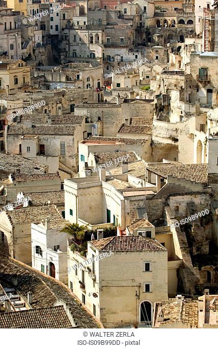 Rooftop cityscape, Matera, Basilicata, Italy