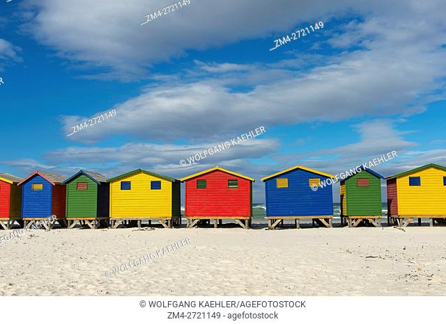 View of colorful beach houses on the beach at Muizenberg near Cape Town, South Africa