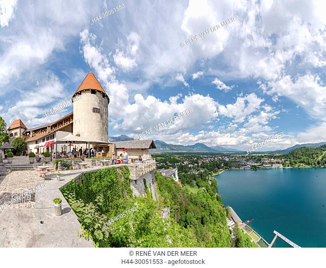 The court of Bled castle with a view over the town, Bled, Slovenia Slovenia