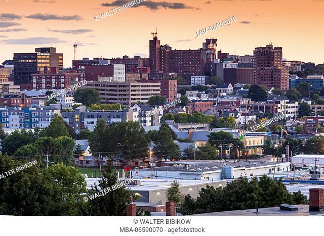 USA, Maine, Portland, skyline from Munjoy Hill, dusk