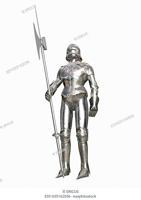 Computer image, armored guard 3D, isolated white background