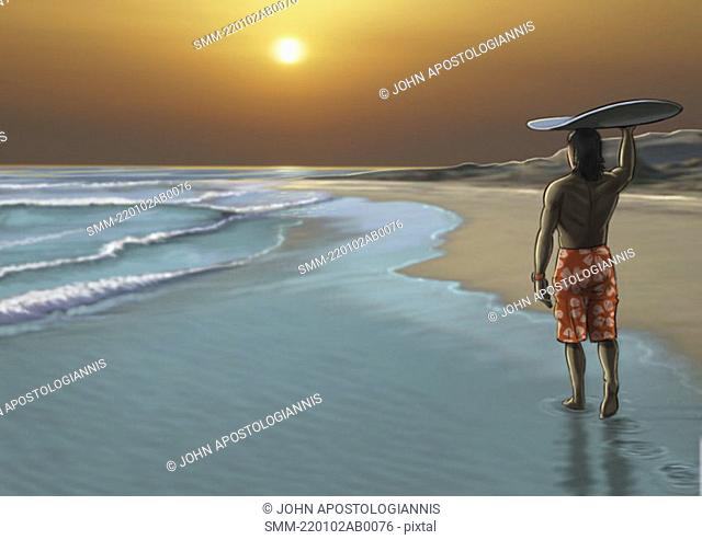 Man watching the sunset with a surfboard balanced on his head