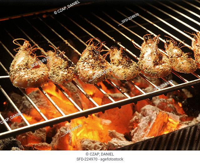 Spicy shrimps on a barbecue