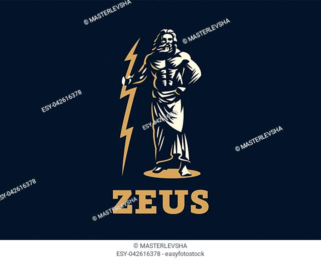 The Greek god Zeus. Zeus stands with lightning in his hands. Vector illustration