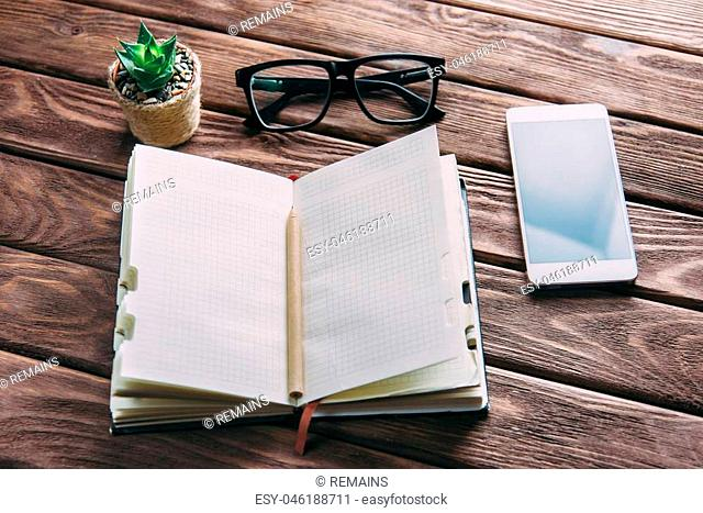 Notepad with pen, glasses and smartphone near a plant on a wooden table. Business working place