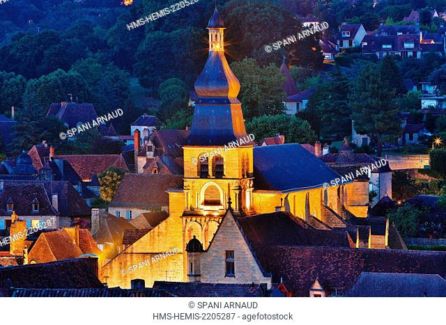 France, Dordogne, Dordogne Valley, Black Perigord, Sarlat la Caneda, Saint Sacerdos Cathedral, night view of an urban landscape of the iluminated cathedral