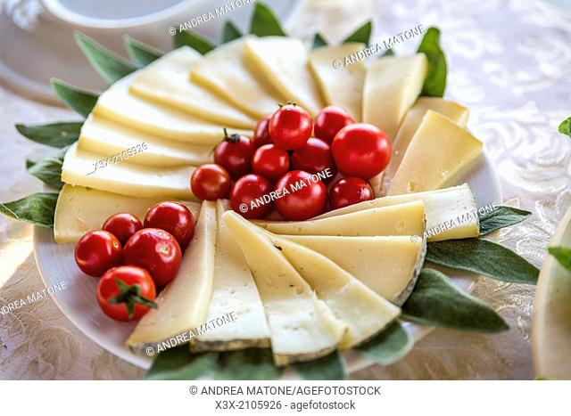 Cheese platter with cherry red tomatoes
