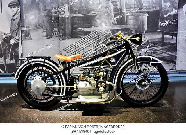 Old motorcycle in the BMW Museum, BMW-R32 from 1923, Munich, Bavaria, Germany, Europe