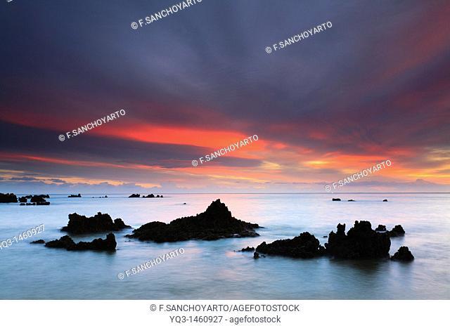 Beach of Trengandín at sunrise, Noja, Cantabria, Spain