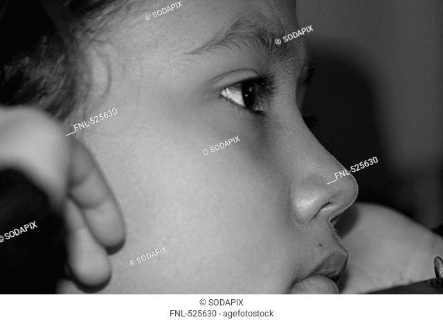 child woman Woman girls eye hair dark brown colored beautiful black and white serious portrait macro lash pupil dark brown lip eyes brew see look astonished...