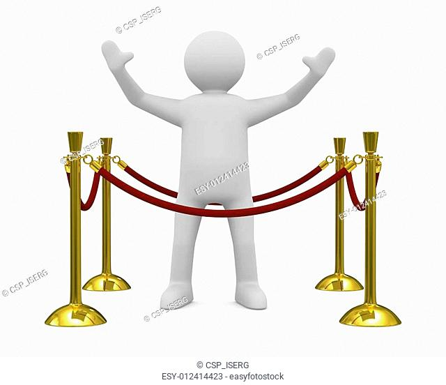 man in greeting pose. Isolated 3D image