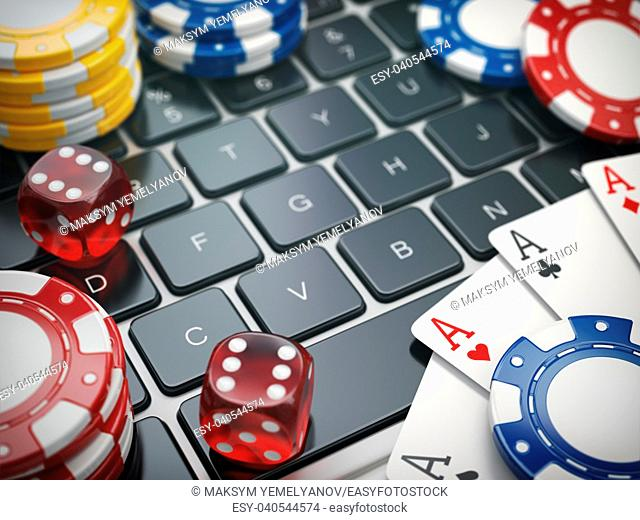 Casino online. Gambling chips , cards and dice on laptop computer background. 3d illustration