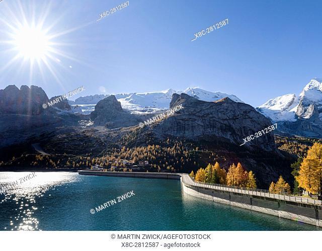 Marmolada - mountain range in the Dolomites. Mount Marmolada is one of the icons of the Dolomites and part of the UNESCO world heritage