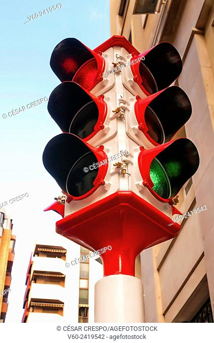 This was the first traffic light in Alicante City in 1958, Spain