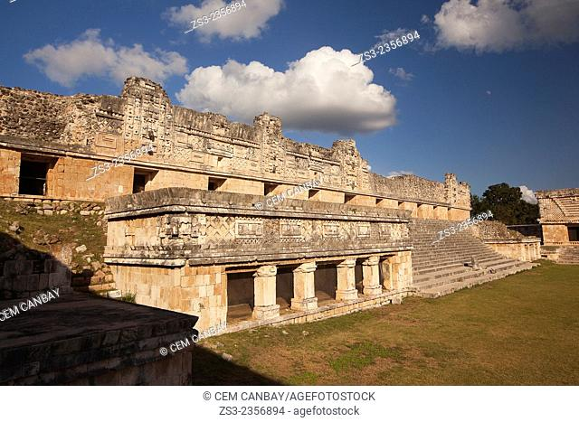 Quadrangle Of The Nuns in Uxmal Ruins, Prehispanic Mayan city of Uxmal Archaeological Site, Yucatan Province, Mexico, Central America