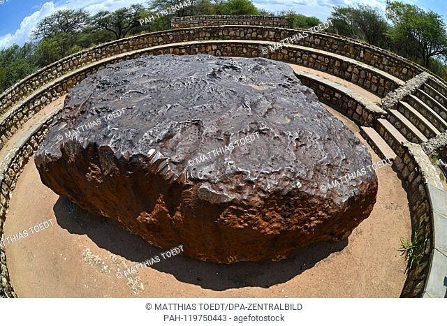 View of the metallic top of the Hoba meteorite near Grootfontein, taken on 06.03.2019. The Hoba meteorite is the largest meteorite ever found in the world