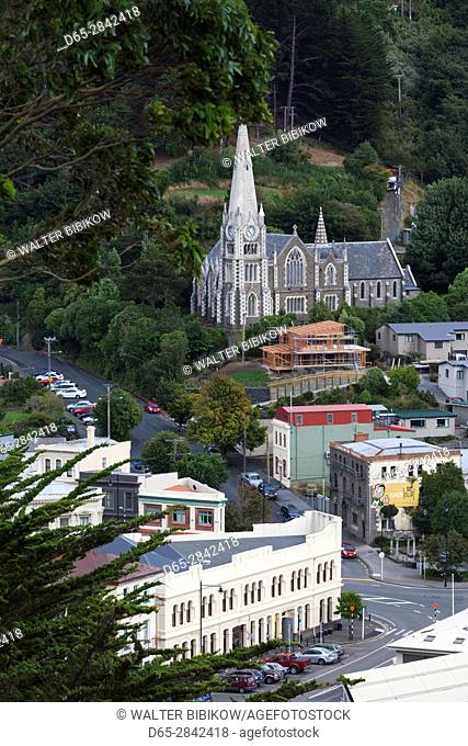 New Zealand, South Island, Otago, Port Chalmers, elevated town view