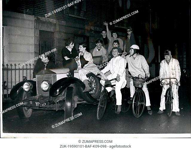 Jan. 01, 1959 - IT'S FUN TO BE YOUNG: Pedalling his cycle into Sloane Square yesterday wearing pale blue pyjamas came Lord Valentine Thynne