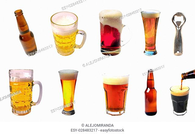 Collection of beer glasses of different flavors