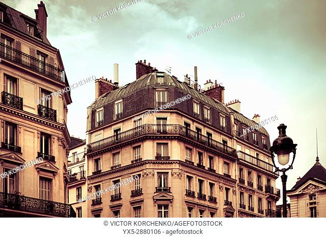 Typical Parisian building with mansard