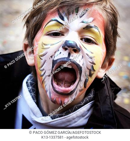 Child with lion painted face