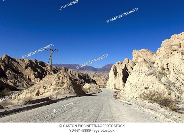 The Quebrada de las Flechas, Calchaqui Valleys, Salta, North West, Argentina. The Quebrada de las Flechas is part of the tourist circuit of National Route 40