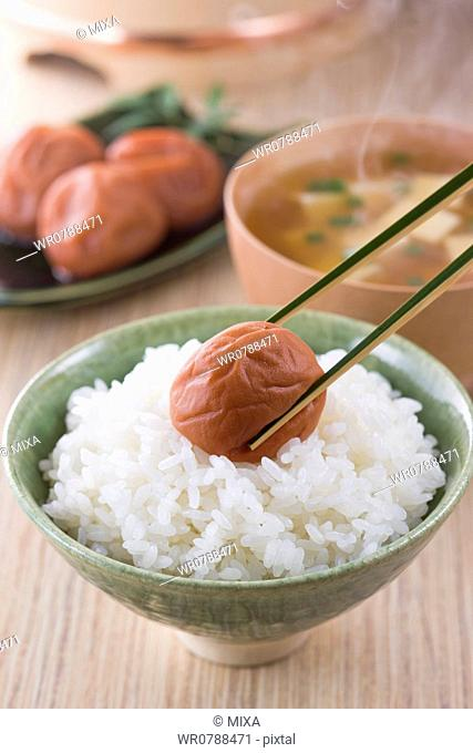 Umeboshi on Steamed Rice