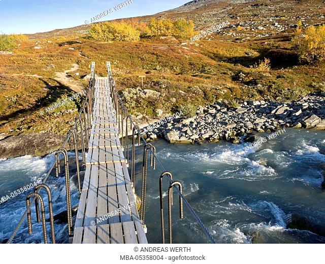 Rope Bridge, mountain range Strynefjell, autumn, indian summer, hiking path, Sogn of Fjordane, Norway