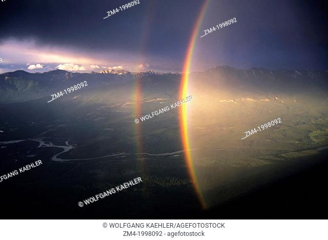 CANADA,ALBERTA,ROCKY MOUNTAINS, JASPER NATIONAL PARK, WHISTLER MT.,RAINBOW OVER ATHABASCA RIVER VALLEY