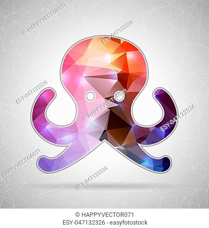Abstract Creative concept vector icon of octopus for Web and Mobile Applications isolated on background. Vector illustration template design