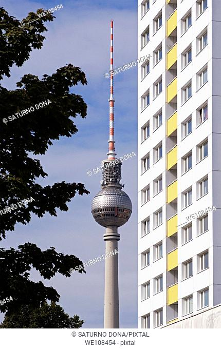 Renovated Plattenbau and Television tower - Berlin - Germany