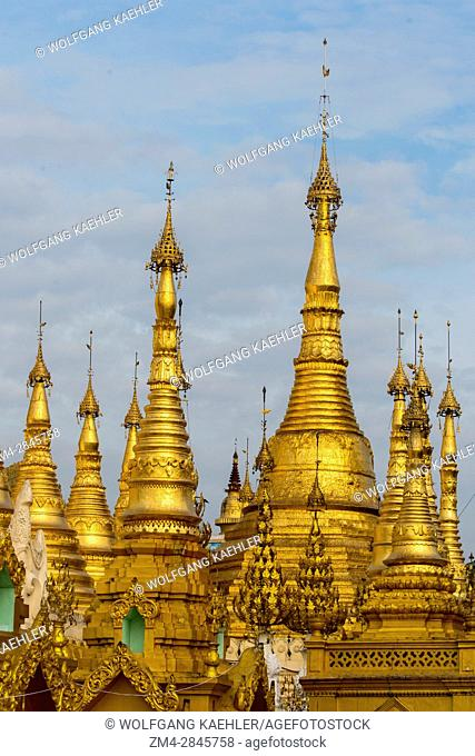 View of golden stupas at the 2,500 years old Shwedagon Pagoda in Yangon (Rangoon), the largest city in Myanmar