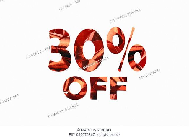 30 percent off cut out of an photo of red gift ribbon - isolated on white background