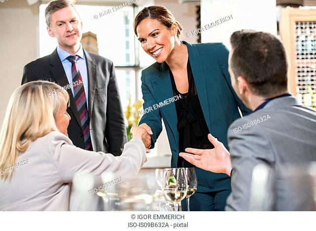 Businessmen and businesswomen at lunch in restaurant