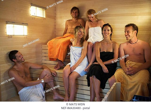 A group of people in a sauna