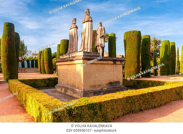 Stone Statues of Christopher Columbus and Catholic Monarchs, Queen Isabella I of Castile and King Ferdinand II of Aragon