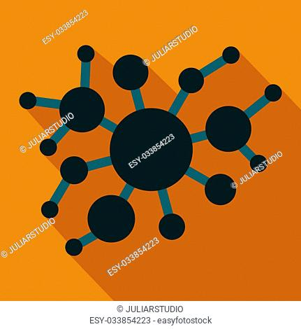 A group of virus flat icon on a orange background