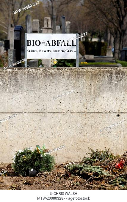 Bio waste sign biodegradable waste cemetery Vienna