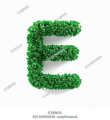 Green leaves E ecology letter alphabet font isolated on white background. 3d rendering
