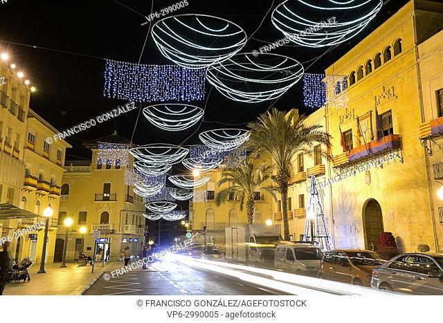 Town Hall Square of the city of Elche, with Christmas decoration