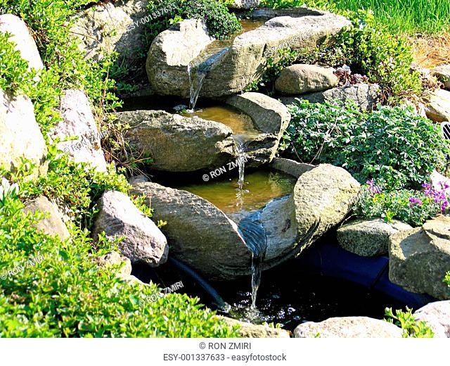Beautiful home garden waterfall pond