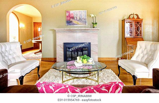 Elegant Gold And Pink Fireplace In Livingroom Interior