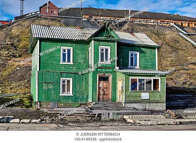 typical old wooden buildings in russian mining town Barentsburg, Svalbard or Spitsbergen, Europe - Barentsburg, Svalbard, 26/06/2018