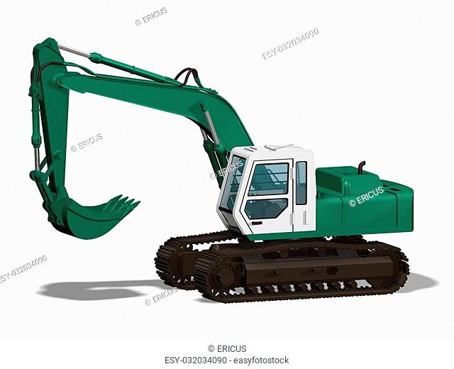 Computer image 3D green earthmover isolated white background