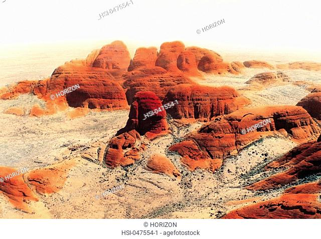 Australia, Norhern Territory, Alice Springs region, The Olgas rock formation, Hand-coloured