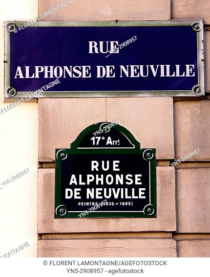 Panneau Rue Alphonse de Neuville, Paris, Ile de France, 75017, sign, street,
