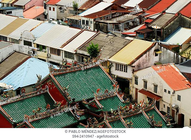 Overview of Old Chinatown with Hong San Si temple of Kuching, Sarawak, Malaysia, Borneo