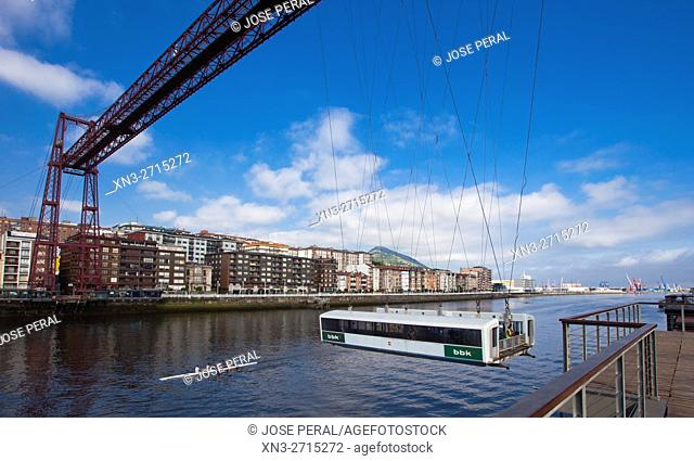 The Vizcaya Bridge, commonly called Puente Colgante, is a transporter bridge that links the towns of Portugalete and Las Arenas district of Getxo