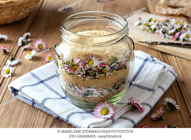 A jar filled with fresh lawn daisy flowers and cane sugar, to prepare herbal syrup against cough