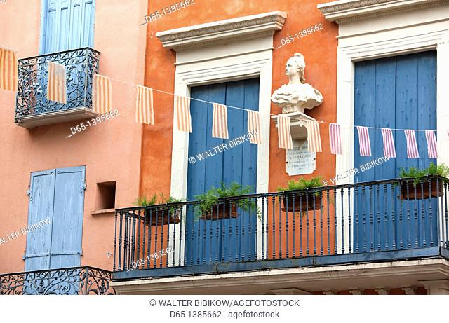 France, Languedoc-Roussillon, Pyrennes-Orientales Department, Vermillion Coast Area, Collioure, building detail